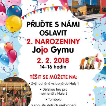 2. 2. 2018 Jojo Gym slaví 2. narozeniny, přijďte je oslavit s námi.